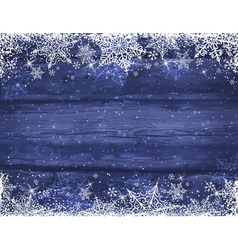 Wooden blue christmas background with snowflakes vector image vector image