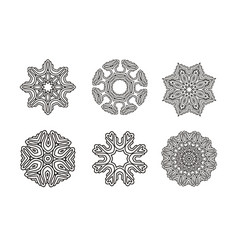 Circular pattern set round ornament vector