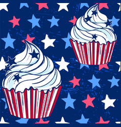 Ink hand drawn cupcake seamless pattern july 4th vector