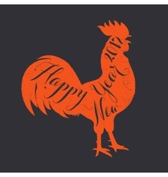 Lettering congratulation on the rooster s body vector image