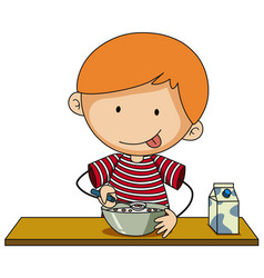 little boy having cereal with milk vector image