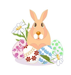 rabbit sitting on Easter eggs daisies on a white vector image vector image