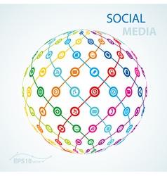 Social media element icon sheme globe worldwide vector