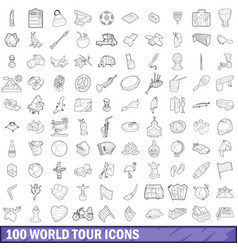 100 world tour icons set outline style vector image