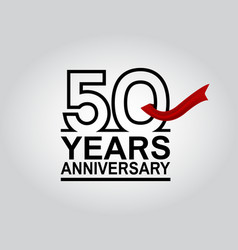 50 years anniversary logotype with black outline vector