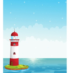 A lighthouse in the middle of the sea vector image
