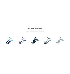 Active sensor icon in different style two vector
