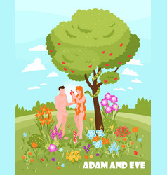 adam and eve background vector image
