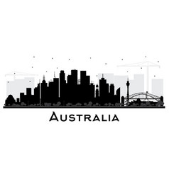 australia city skyline silhouette with black vector image