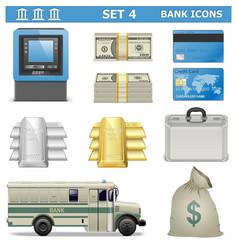 Bank Icons Set 4 vector image
