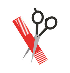 Barbershop scissor with comb vector