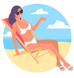 beach chair at seaside vector image