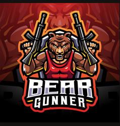 bear gunner esport mascot logo vector image
