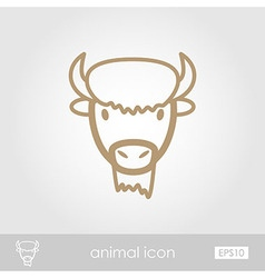 Bison buffalo ox icon Animal head symbol vector