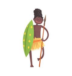 Black skinned man aborigine warrior with spear vector