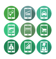 Business transactions using mobile phone vector image