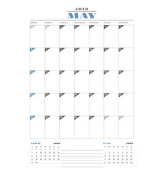 calendar planner template for 2018 year may vector image