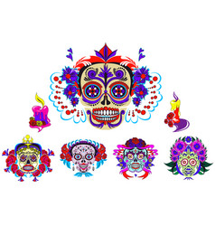 cartoon skeletons with floral mexico ornaments set vector image