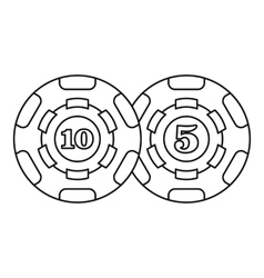 Casino chips icon outline style vector image
