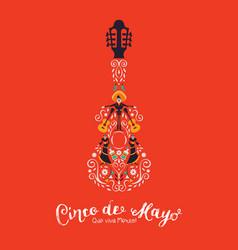 cinco de mayo card mariachi guitar decoration vector image