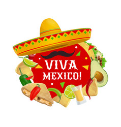 cinco de mayo viva mexico sombrero and mustaches vector image