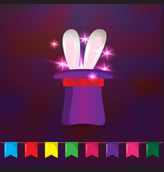 Circus elements Magic hat with rabbit ears and vector image