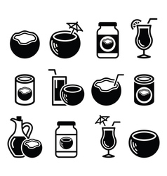 Coconut milk oil cocktail - icons set vector
