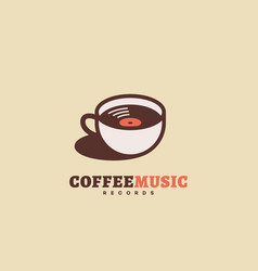 coffee music records logo vector image