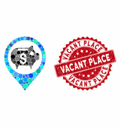 Collage bank map marker with textured vacant place vector