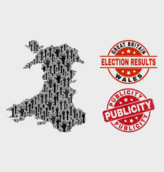 Collage vote wales map and grunge publicity vector