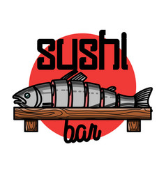 color vintage sushi bar emblem vector image