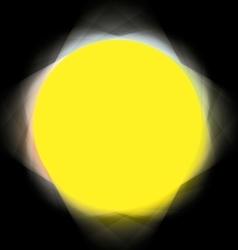 colored spotlights around yellow circle vector image