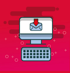 computer keyboard receiving email office vector image