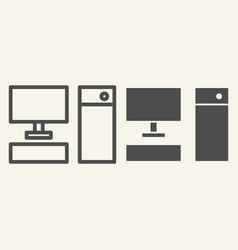 computer line and glyph icon pc vector image