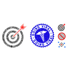 contagious mosaic goal icon with healthcare vector image