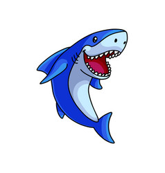 cute open mouth white blue ocean shark vector image
