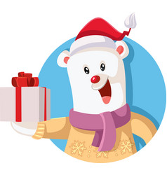 cute polar bear holding christmas gift vector image