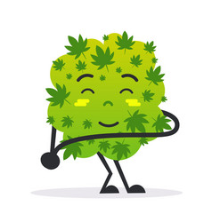 cute smiling cannabis weed bud cartoon character vector image