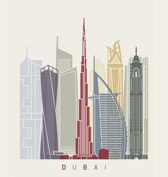 Dubai v2 skyline poster vector