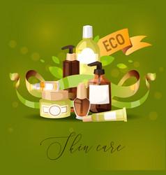Eco cosmetic product skincare bio cream vector