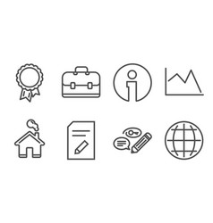 Edit document portfolio and success icons line vector