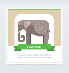Elephant banner indian sacred animal flat vector