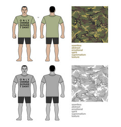 Fashion man figure and camo t shirt design vector