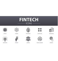Fintech simple concept icons set contains vector