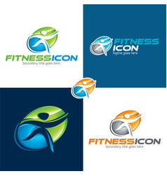 fitness icon and logo vector image