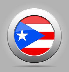 Flag of puerto rico metal gray round button vector