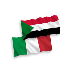 Flags italy and sudan on a white background vector