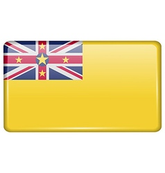 Flags niue in form a magnet on refrigerator vector