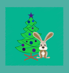 Flat shading style icon christmas tree rabbit vector