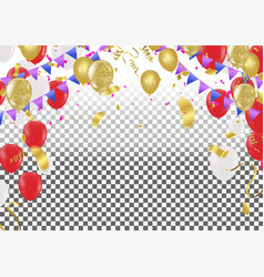 flying red and white balloons in vector image